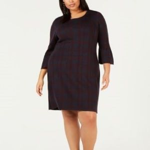 New NY Collection Tartan Plaid Sweater Dress